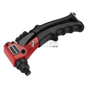 FORTUM popszegecshúzó fogó, egykezes, ALU, réz, acél, INOX szegecsekhez; 2,4-3,2-4,0-4,8mm, 200mm, CrVMo fej