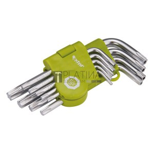 EXTOL CRAFT TORX kulcs klt., rövid, Cr40, TÜV/GS; 9db, T10-T50