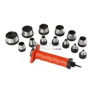 EXTOL lyukasztó klt. 14 db 5-6-8-10-11-13-16-19-22 -25-28-32-35 mm, színes műanyag markolat, műanyag koffer