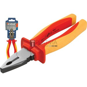 EXTOL kombinált fogó, szigetelt,1000V VDE, DIN ISO 5746, CV, duál piros/sárga nyél, akasztós szerszámtartó