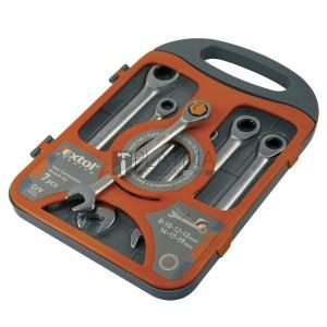 Extol Premium 7 részes racsnis csillag-villás kulcs készlet 8-19mm