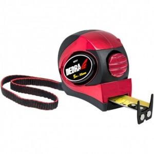 Dedra mérőszalag, piros, automata blokkolás, mágnes, kétoldalas szalag, gumi borítás + króm, nylon, bliszter