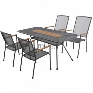 MWH Masao 4+1 részes fémhálós kerti bútor készlet